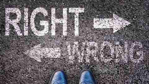 """Teen with ADHD standing on street with words """"right"""" and """"wrong"""" written on it has to navigate life"""