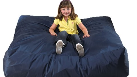 "check out this mega ""crash pad,"" where your child can jump, fall, or wrestle to his heart's content."