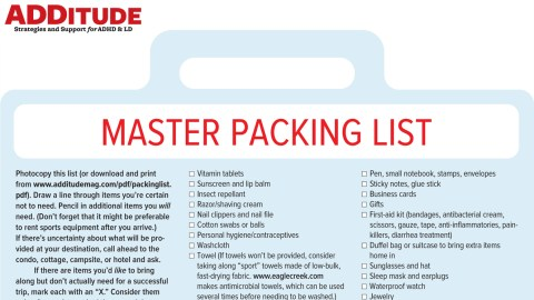 master packing list for adhd adults