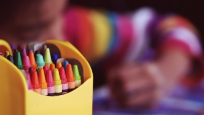 Art supplies used by a child with ADHD