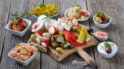 Different foods that are common features of a Mediterranean diet, that may help lower ADHD risk