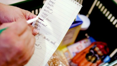 ADHD Person's hand holding a shopping list