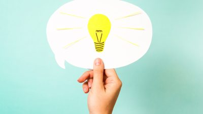 A lightbulb in an idea bubble, representing the good idea of asking for work accommodations for ADHD