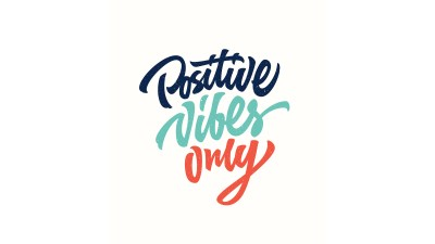 Positive vibes only custom hand lettering, a good motto for people with ADHD