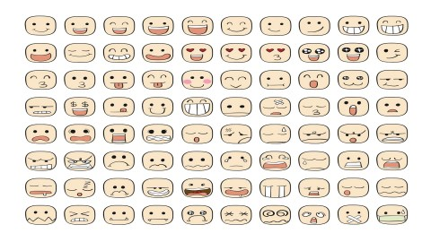 Collection set of 80 face ADHD emotions