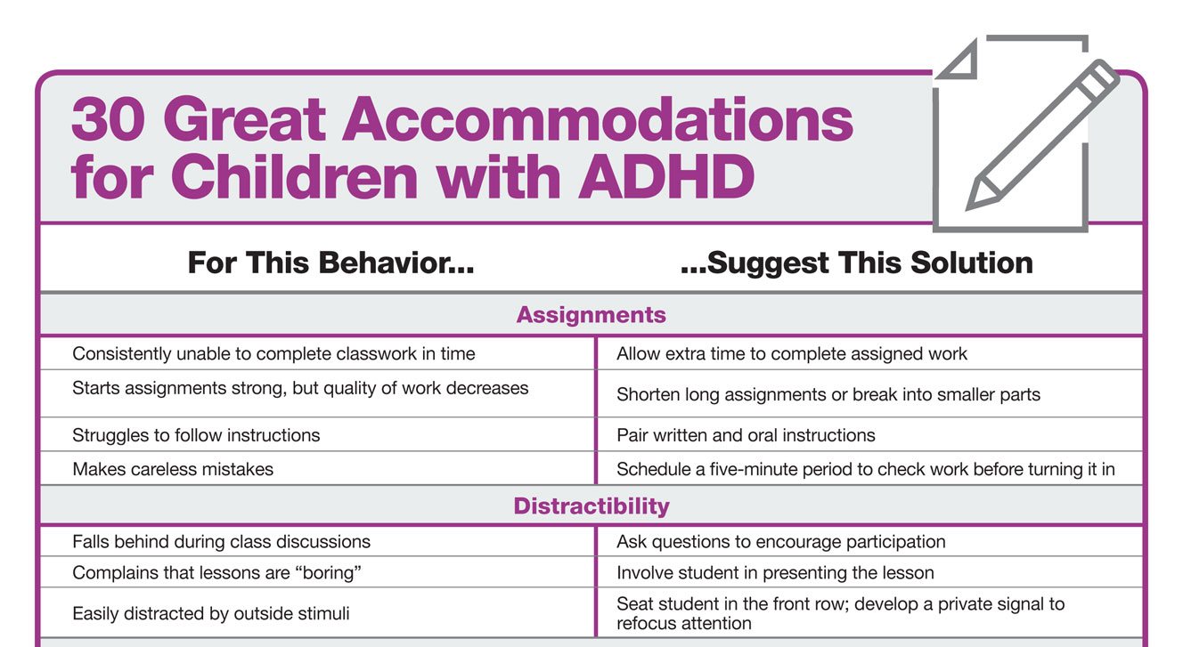 accommodating students with adhd