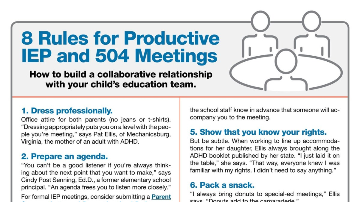 8 Rules for a Productive 504 Plan or IEP Meeting