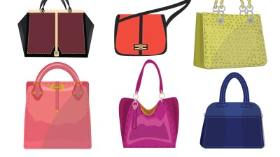 A row of purses from a woman who keeps losing things