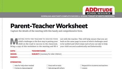 Free Download: Parent-Teacher Worksheet