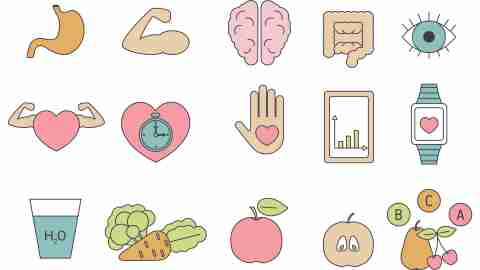 Icons representing healthy lifestyle changes, like diet, sleep, and exercise