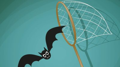 A bat flying away from a net and trying to get more energy