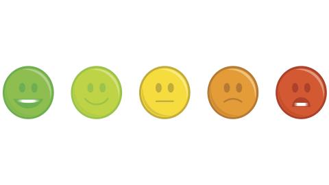 Different colored emoticons symbolize emotional dysregulation