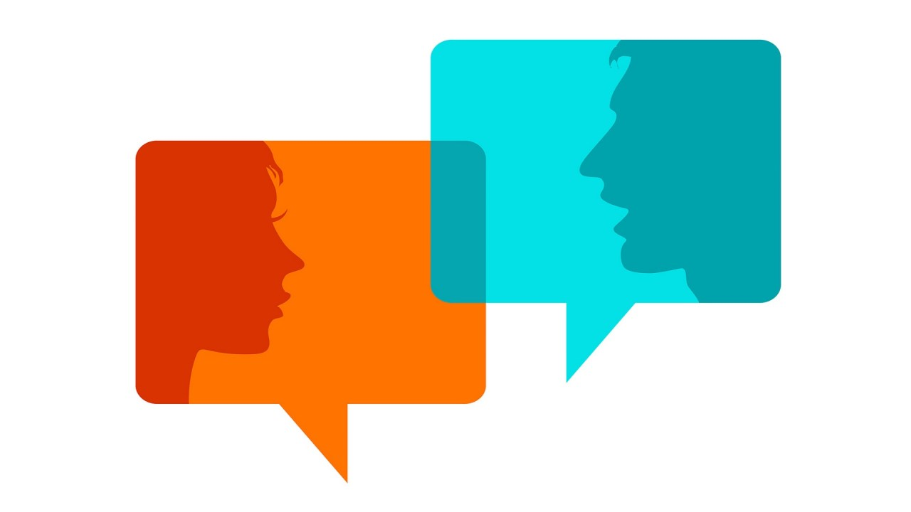 Dialog - Speech bubbles with two faces. One person doesn't understand because of a language processing disorder.