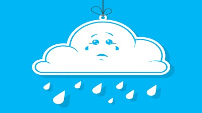 A crying cloud symbolizes the emotions of an ADHD meltdown