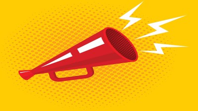 An illustration of a megaphone symbolizes ADHD advocacy