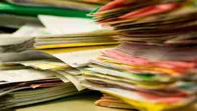 organizing stacks of paper