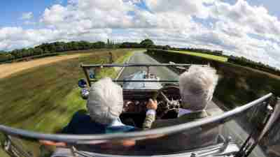 Older adults driving in a rural area. Those with a late diagnosis can have struggle to find ADHD treatment.