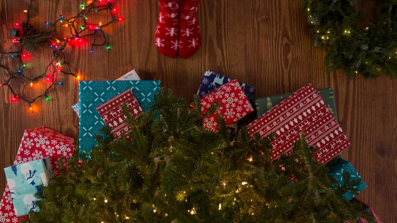 Children waiting by presents