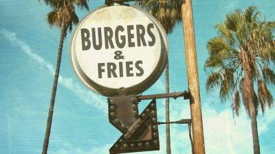burgers and fries sign
