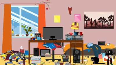 An illustration of a disorganized home that needs decluttering.