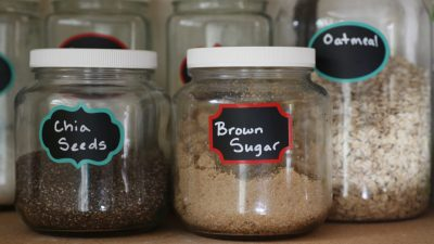pantry jars of chia seeds, and brown sugar