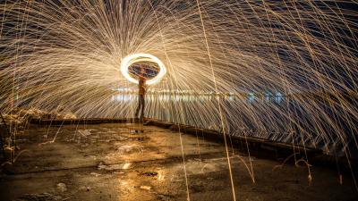 Whirling sparklers of light