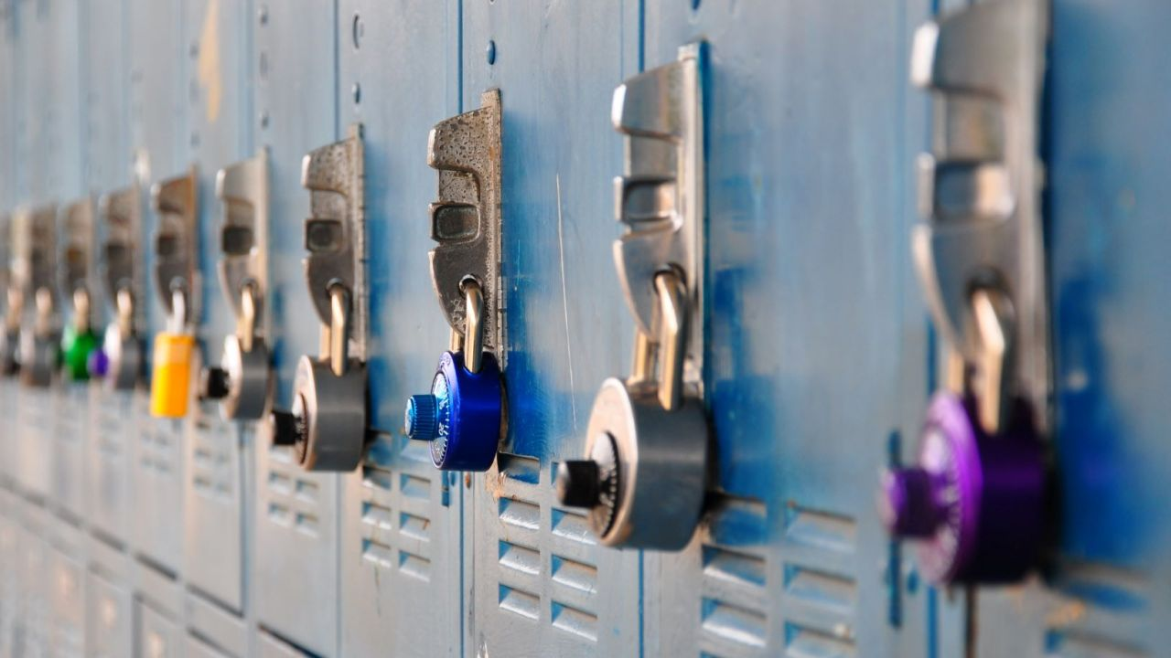 A row of school lockers. Many students struggle with staying organized in middle school.