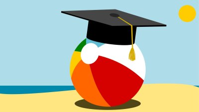 illustration of beach ball on beach wearing black graduation cap