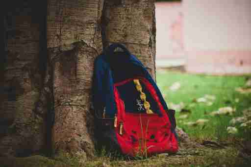 Abandoned backpack of a student with ADHD