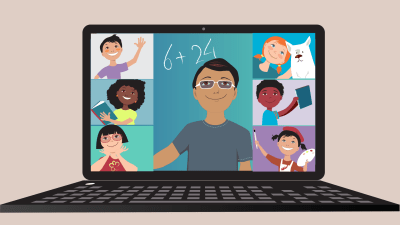 Teacher conducting an online remote learning class through video