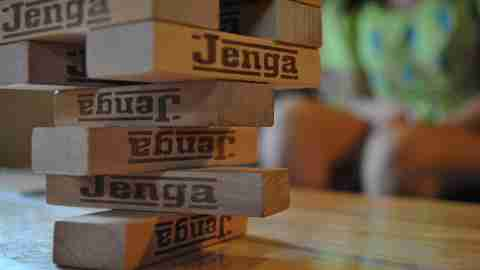 Jenga tower about to collapse