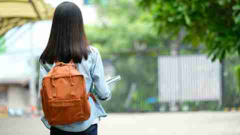 Back of student girl holding books and carry school bag while walking in school campus background, education, back to school concept