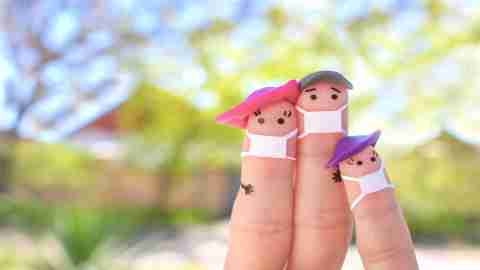 finger art of family with face masks on - summer safety activities for adhd kids 2020