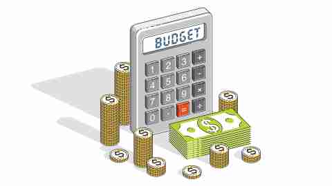 Budgeting concept - a calculator with cash and coins
