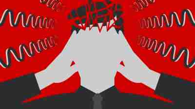 Black-and-white man is clasping his head with hands, suffering from unbearable headache caused by stress and overwork, head is broken down to fragments, over depressive red background