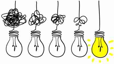 Lightbulbs shown in series to illustrate the process of learning and grasping something.
