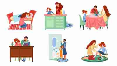 Set of families in everyday situations enjoying life vector illustration