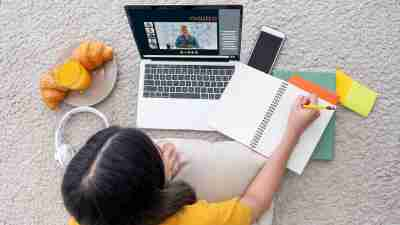 A student remote learning at home