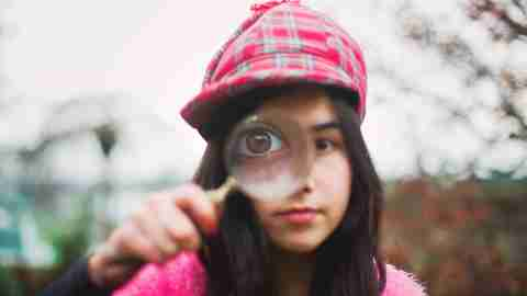 little detective girl with adhd outdoors becoming a social detective