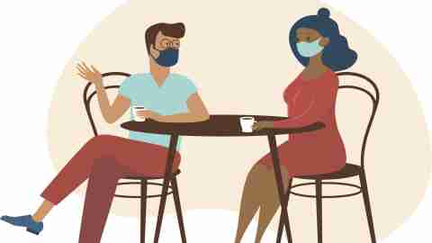 Cute couple wearing protective medical maskssitting at table, drinking tea or coffee and talking. New cafe visiting regulations during coronavirus COVID-19 outbreak. Quarantine and social distancing concept.Flat cartoon vector illustration.