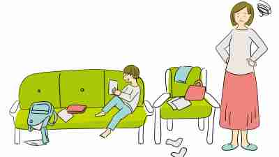 Illustration material of a stressed mother who is troubled by her adhd son who clutters the room, easy to use for leaflets of housekeeping services etc.