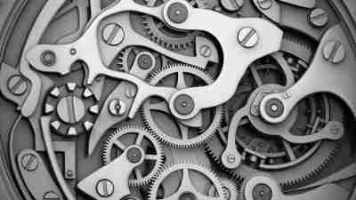 Close view of watch and gear with macro detail grayscale and vignette. 3D rendering