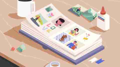 Open photo book on the wooden table. Sorting and attaching photo to pages of photographic album. Family memories. Cartoon vector illustration.