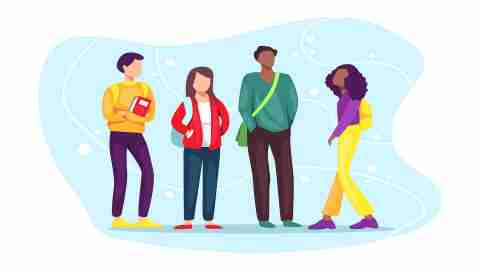 ADHD in Teens: Illustration of a group of high schoolers