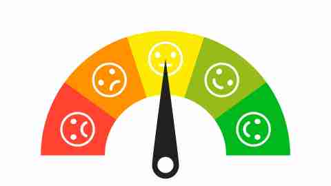 Colored scale. Gauge. Indicator with different colors. Emoji faces icons. Measuring device tachometer speedometer indicator. Vector isolated illustration. EPS 10