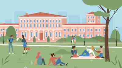 College tips - an illustration of students on the lawn of a college campus