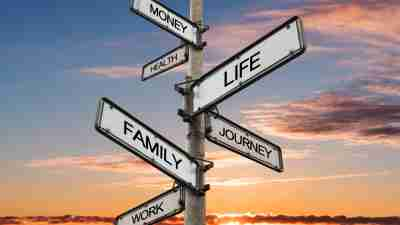 Life balance choices signpost, with sunrise sky backgrounds
