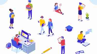 how to prepare for college concept - miniature illustrations of college students in various settings