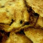 Bread and butter pudding ready to be eaten