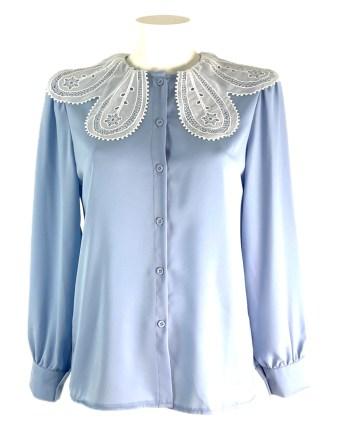 blouse met kanten kraag